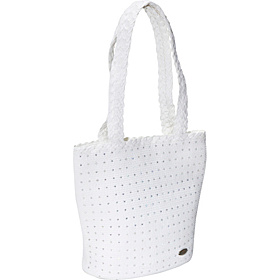 Paper Braid Bag W/Rhinestones White