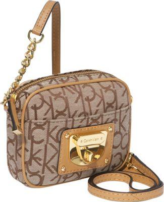 Calvin Klein Geo 2 Jacquard Chain Strap Crossbody Khaki Brown Camel Calvin Klein Fabric Handbags