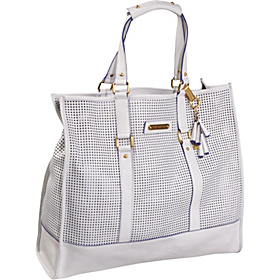 Perforated Leann Tote White