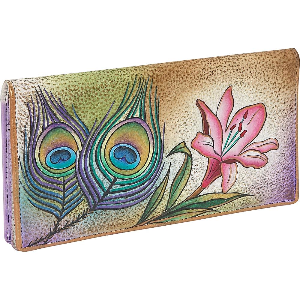 Anuschka Ladies 2 Fold Slim Wallet Premium Peacock