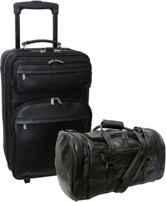 Amerileather Leather 2 Pc. Carry-On Luggage Set - Black