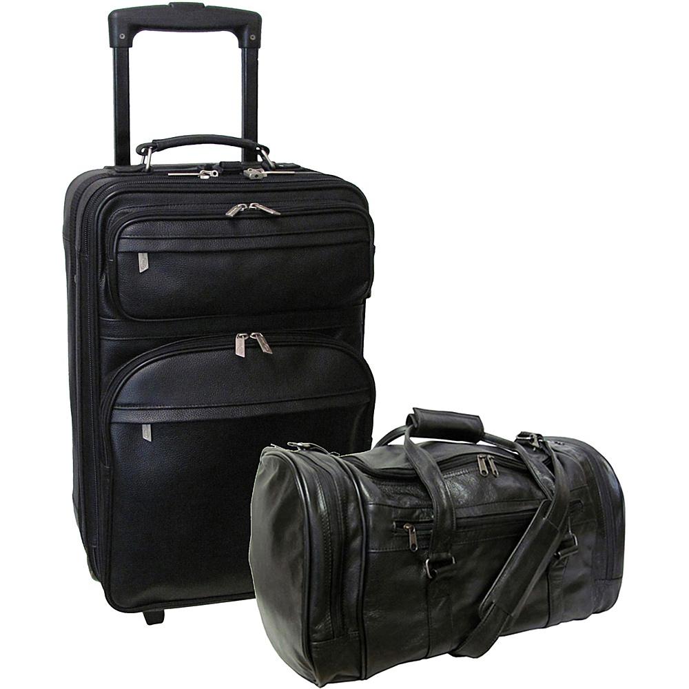AmeriLeather Leather 2 Pc. Carry-On Luggage Set - Black - Luggage, Luggage Sets