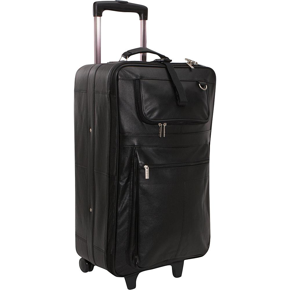 AmeriLeather Leather 26 Upright - Black - Luggage, Large Rolling Luggage