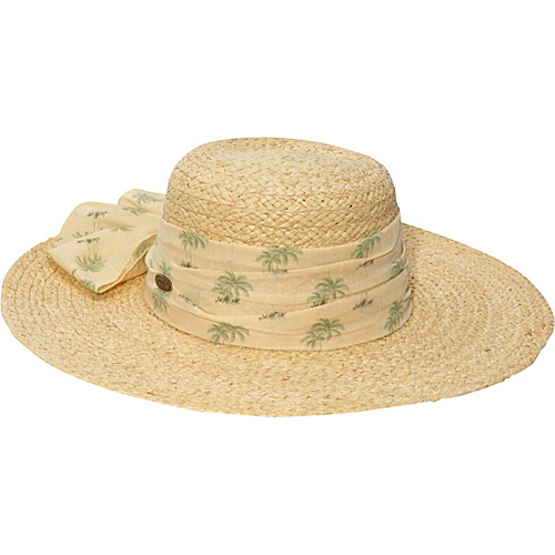 Cappelli Natural Raffia Hat With Palm Scarf - Natural