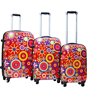 Carnival 3 Piece Exp. Hardside Luggage Set Red