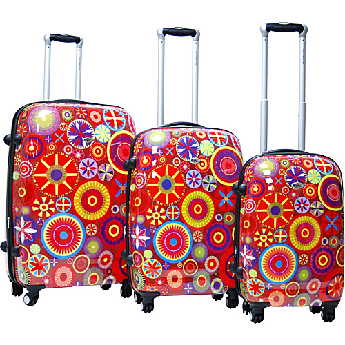 CalPak Carnival 3 Piece Exp. Hardside Luggage Set - Red