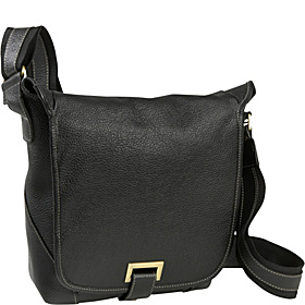 Flapover Cross-Body Messenger Bag Black