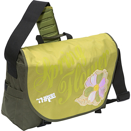 Three Spring Flower Laptop Messenger Bag Green - Three Women's Messenger Bags