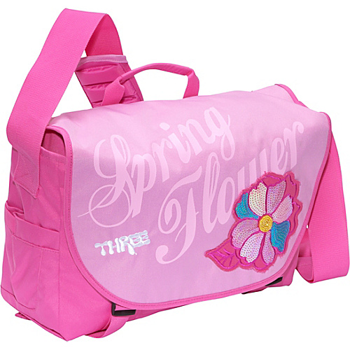 Three Spring Flower Laptop Messenger Bag Pink - Three Women's Messenger Bags