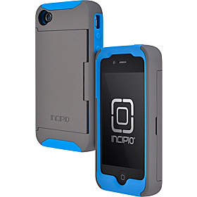 Stowaway Credit Card Case for iPhone 4/4S Dark Gray / Laser Blue