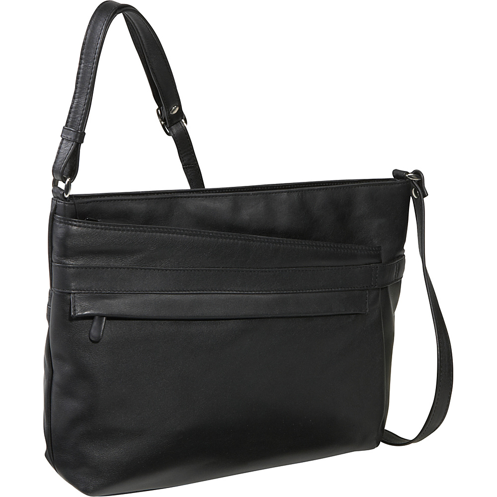 Derek Alexander EW Top Zip Shoulder Bag - Black - Handbags, Leather Handbags