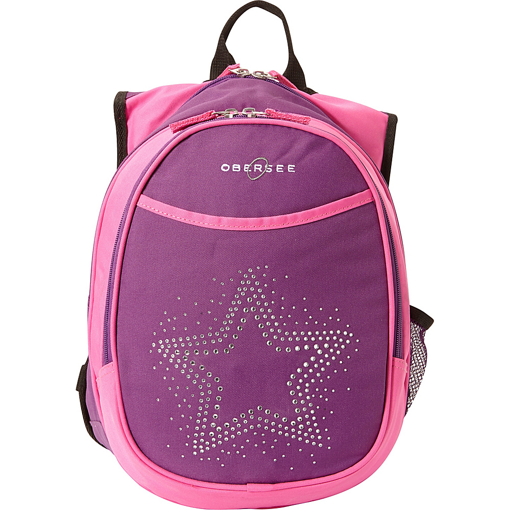 Obersee Kids Pre School Star Backpack with Integrated Lunch Cooler Purple Pink Bling Rhinestone Star Obersee Everyday Backpacks