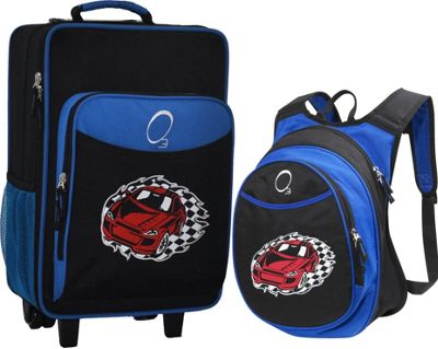 Obersee O3 Kids Racecar Luggage and Backpack Set With Integrated Cooler Racecar - Obersee Softside Carry-On