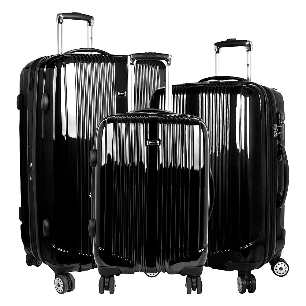 J World New York Concord 3 Piece Hardside Spinner Set Black - J World New York Luggage Sets - Luggage, Luggage Sets