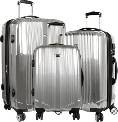 J World New York Concord 3 Piece Hardside Spinner Set Silver - J World New York Luggage Sets