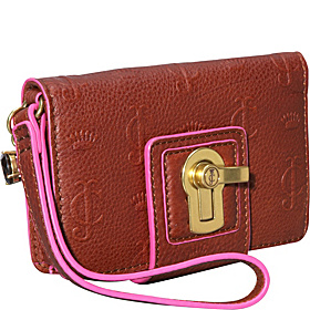 Essentially Everyday Leather Tech Wristlet  Cognac