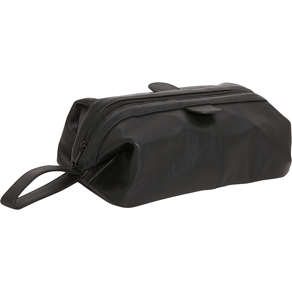AmeriLeather Top-Zip Leather Toiletry Bag - Black - Travel Accessories, Toiletry Kits