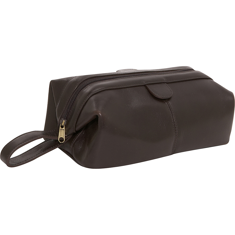 AmeriLeather Top-Zip Leather Toiletry Bag - Dark Brown - Travel Accessories, Toiletry Kits