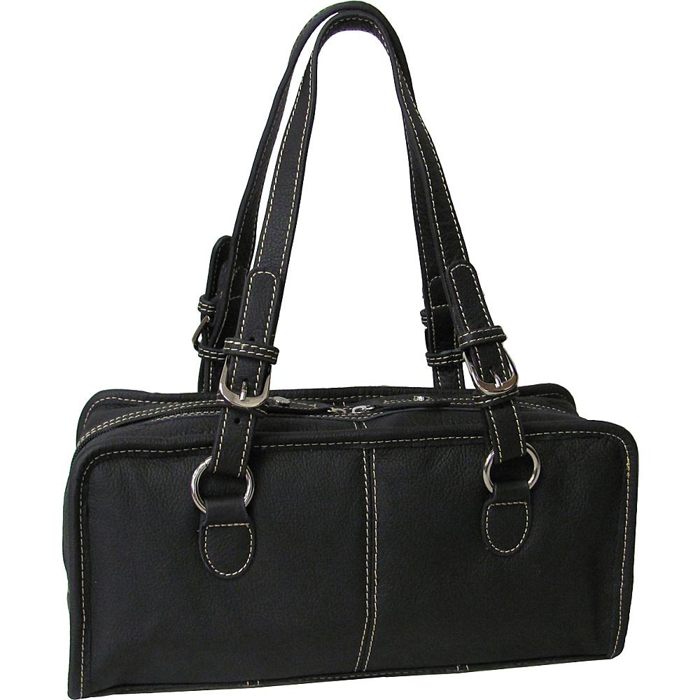 AmeriLeather Classy Belt Stitched Leather Satchel Black - AmeriLeather Leather Handbags - Handbags, Leather Handbags