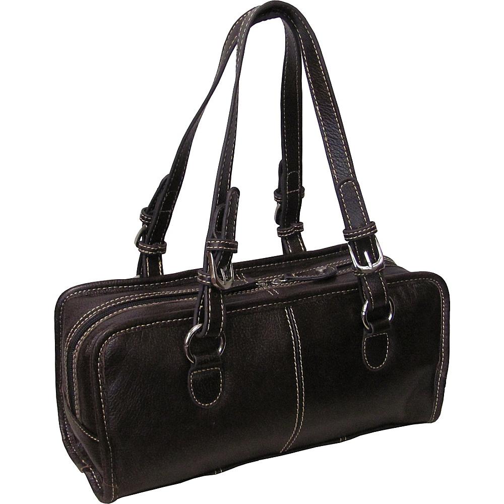 AmeriLeather Classy Belt Stitched Leather Satchel Dark Brown - AmeriLeather Leather Handbags - Handbags, Leather Handbags