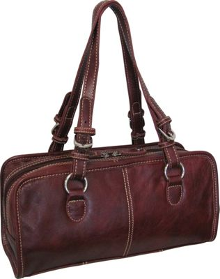 AmeriLeather Classy Belt Stitched Leather Satchel Red - AmeriLeather Leather Handbags