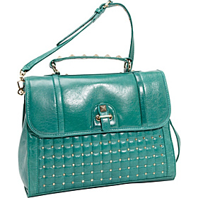 Quilted Pyramid Stud Chance Briefcase Teal