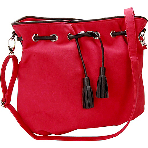 Flying Daisies Cherry Red Faux Suede Crossbody Handbag Cherry Red