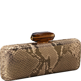 Slim Rectangle Asiro Metallic Leather Minaudiere Gold