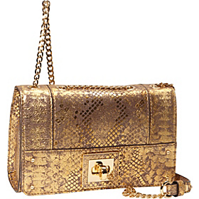Alexa Metallic Python Small Flap Gold