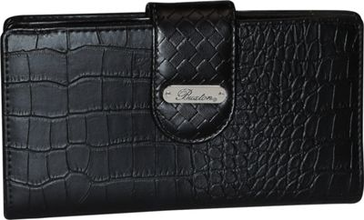 Buxton Croco Super Wallet Black - Buxton Women's Wallets