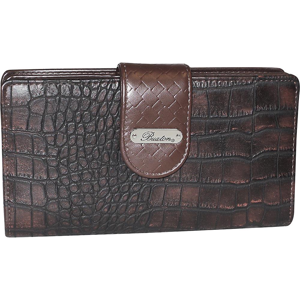 Buxton Croco Super Wallet Brown - Buxton Womens Wallets - Women's SLG, Women's Wallets