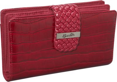 Buxton Croco Super Wallet Red - Buxton Women's Wallets