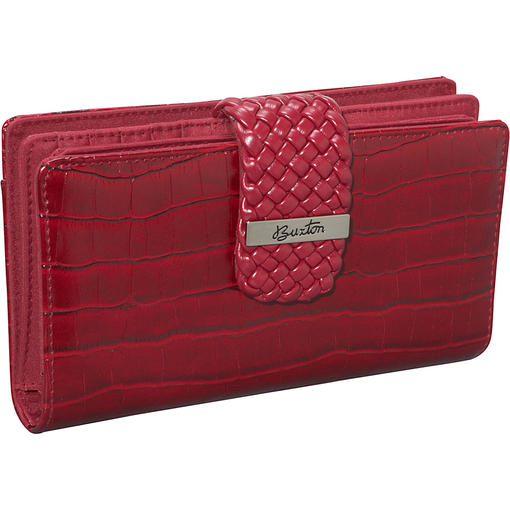 Buxton Croco Super Wallet Red - Buxton Womens Wallets - Women's SLG, Women's Wallets