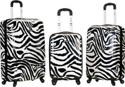 Rockland Luggage Safari 3 Piece Hardside Spinner Set Zebra - Rockland Luggage Luggage Sets