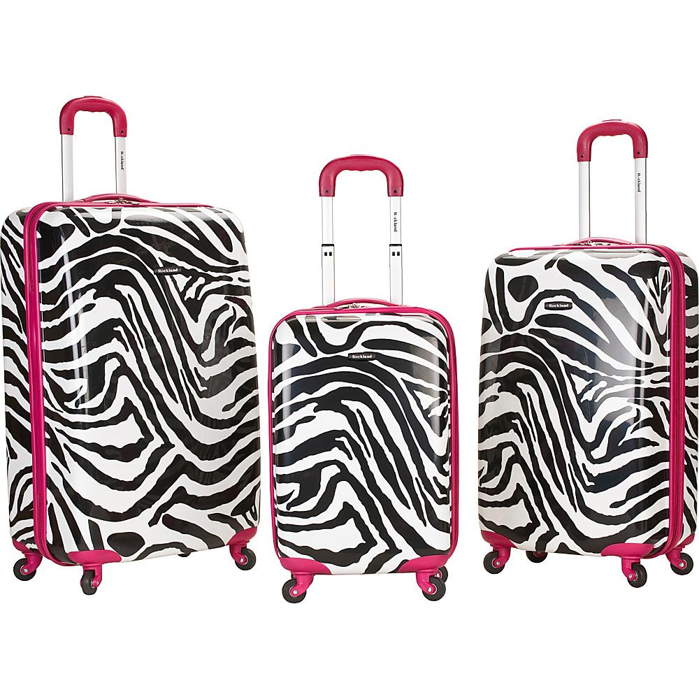 Rockland Luggage Safari 3 Piece Hardside Spinner Set Pink Zebra - Rockland Luggage Luggage Sets