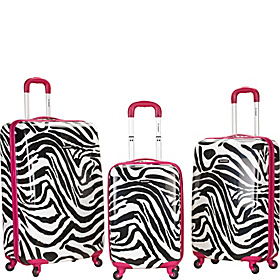 Safari 3 Piece Hardside Spinner Set Pink Zebra