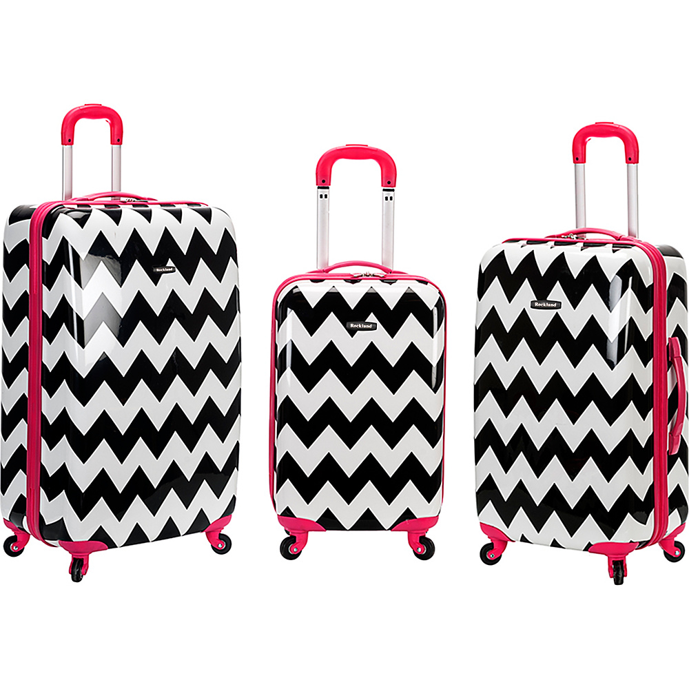 Rockland Luggage Safari 3 Piece Hardside Spinner Set PINKCHEVRON Rockland Luggage Luggage Sets