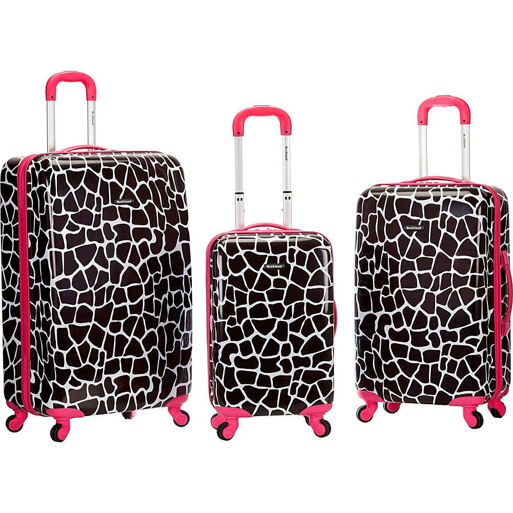 Rockland Luggage Safari 3 Piece Hardside Spinner Set Pink Giraffe Rockland Luggage Luggage Sets