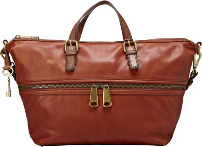 Fossil Explorer Satchel Russet Brown Fossil Leather Handbags