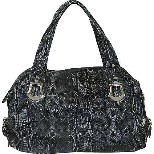 Buxton Leather Glazed Snake Print Satchel Grey - Buxton Leather Handbags