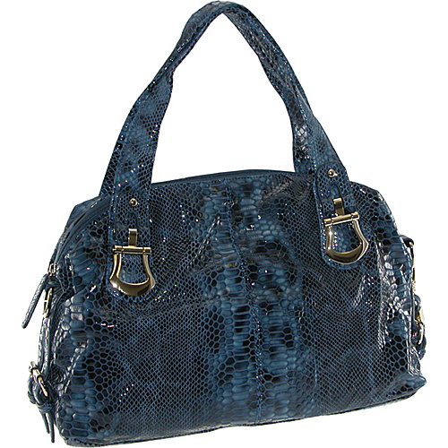 Buxton Leather Glazed Snake Print Satchel Navy - Buxton Leather Handbags