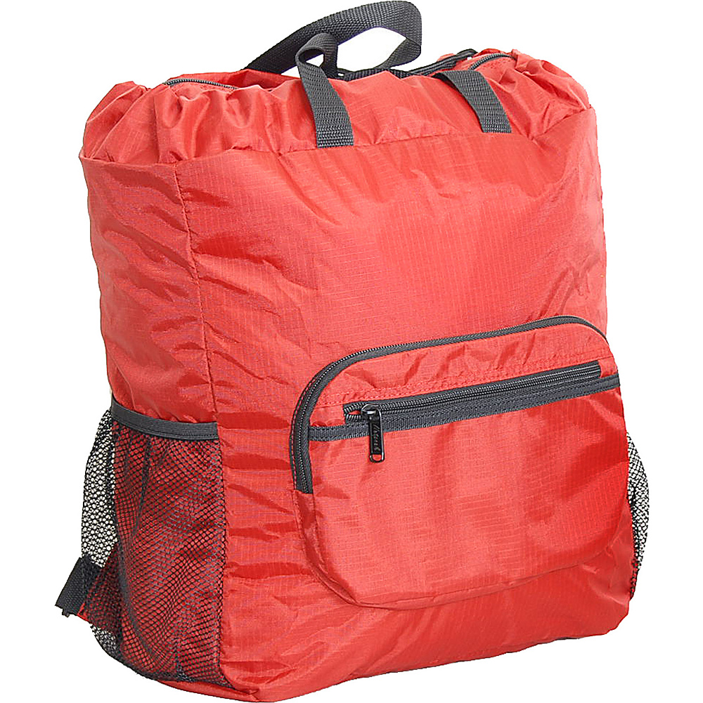 "Netpack 19"" U-zip lightweight backpack & tote Red - Netpack Lightweight packable expandable bags"