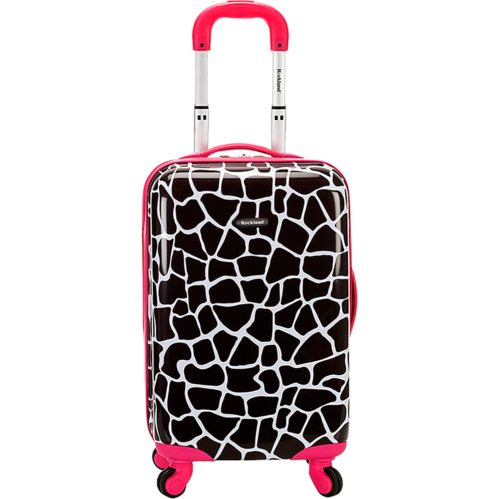 Rockland Luggage Safari 20 Hardside Spinner Carry on Pink Giraffe Rockland Luggage Hardside Carry On