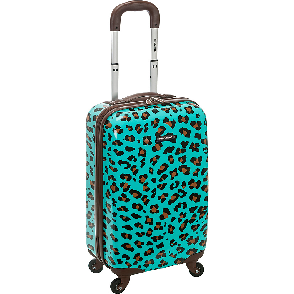 Rockland Luggage Safari 20 Hardside Spinner Carry on BLUE LEOPARD Rockland Luggage Hardside Carry On