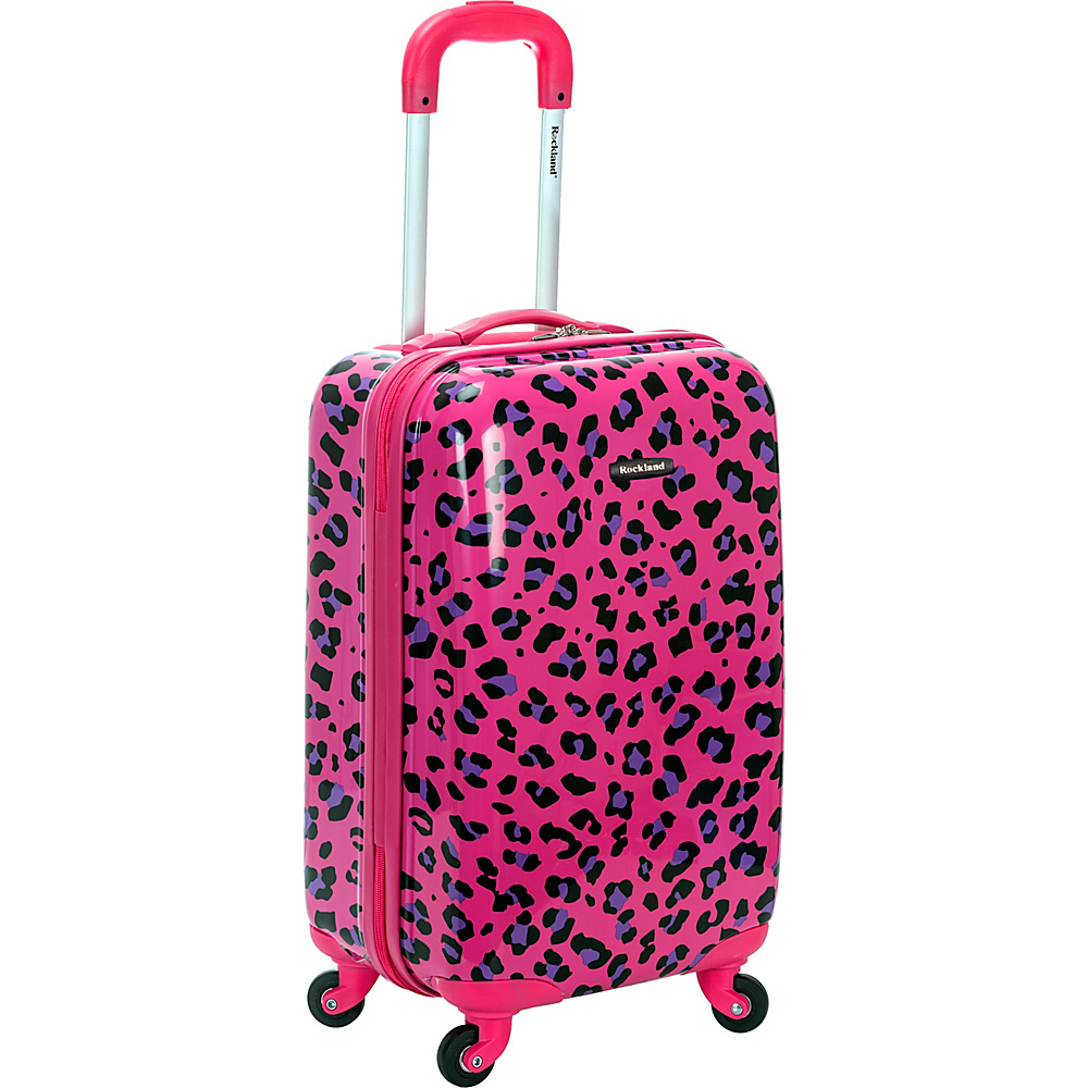 Rockland Luggage Safari 20 Hardside Spinner Carry on MAGENTA LEOPARD Rockland Luggage Hardside Carry On