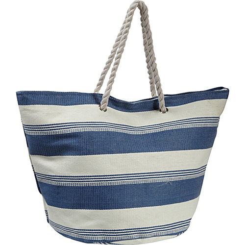Earth Axxessories Striped Straw Tote Blue - Earth Axxessories Straw Handbags