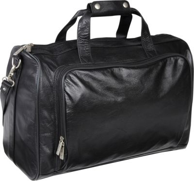 AmeriLeather 18-inch Leather Carry on Weekend Duffel Black - AmeriLeather Travel Duffels