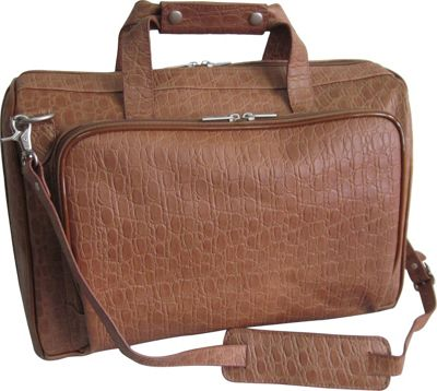 Image of AmeriLeather 18-inch Leather Carry on Weekend Duffel Brown Pebble - AmeriLeather Travel Duffels
