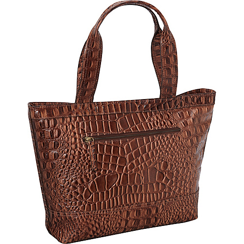 R & R Collections Top Zip Tote Handbag BROWN - R & R Collections Leather Handbags