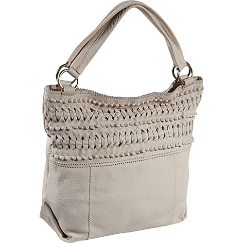 Roxbury Ike Woven Leather Tote Bag White Smoke - Roxbury Leather Handbags